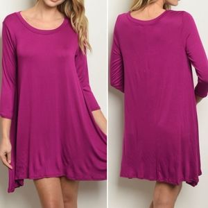 3/4 sleeve scoop neck jersey tunic dress.